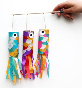 Toilet roll flying fish craft